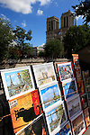 Posters and paintings of Paris for sale with Notre Dame Cathedral in the background. city of Paris. Paris. France