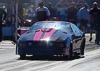 Oct. 26, 2012; Las Vegas, NV, USA: NHRA pro mod driver Leah Pruett during qualifying for the Big O Tires Nationals at The Strip in Las Vegas. Mandatory Credit: Mark J. Rebilas-
