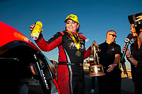 Nov 3, 2019; Las Vegas, NV, USA; NHRA pro stock driver Erica Enders celebrates after winning the Dodge Nationals at The Strip at Las Vegas Motor Speedway. Mandatory Credit: Mark J. Rebilas-USA TODAY Sports