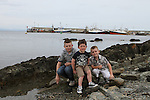 Craig, Rhys and Callum Shevlin at the Green Buoy 1KM Swim in Clogherhead....(Photo credit should read Jenny Matthews/NEWSFILE)...