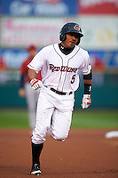 Rochester Red Wings outfielder Eric Farris (5) runs the bases after hitting a home run during a game against the Lehigh Valley IronPigs on May 15, 2015 at Frontier Field in Rochester, New York.  Rochester defeated Lehigh Valley 5-4.  (Mike Janes/Four Seam Images)