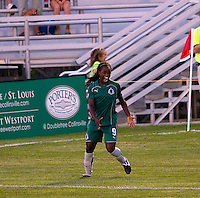 Saint Louis Athletica forward Enoila Aluko (9) during a WPS match at Anheuser Busch Soccer Park, in St. Louis, MO, July 22 2009. Athletica won the match 1-0.