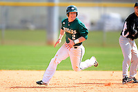 Chicago State University Cougars third baseman Mattingly Romanin #2 during a game against the Muskingum Fighting Muskies at South County Regional Park on March 3, 2013 in Punta Gorda, Florida.  (Mike Janes/Four Seam Images)