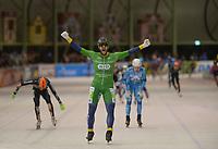 SCHAATSEN: ENSCHEDE:01-01-2020, IJsbaan Twente, NK Marathonschaatsen, winnaar Gerry Hekman, Sjoerd den Hertog(2) en Arjan Stroetinga (3), ©foto Martin de Jong