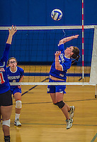 27 October 2013: Yeshiva University Maccabee Outside Hitter Sarit Zukowsky, a Senior from Dayton, Ohio, in action during a Skyline Conference game against the Purchase College Panthers at the College of Mount Saint Vincent in Riverdale, NY. The Panthers defeated the Maccabees 3-0 in NCAA women's volleyball play. Mandatory Credit: Ed Wolfstein Photo *** RAW (NEF) Image File Available ***