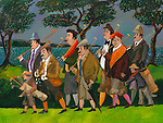 """""""Jean Pierre & His Gang at Pebble Beach""""<br /> Limited Edition Giclee 20x26.5<br /> SN Paper $1,100.<br /> SN Canvas $1,200.<br /> AP Paper w/Original Watercolor Remarque $2,000"""