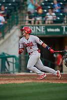 Peoria Chiefs Ivan Herrera (4) at bat during a Midwest League game against the Fort Wayne TinCaps on July 17, 2019 at Parkview Field in Fort Wayne, Indiana.  Fort Wayne defeated Peoria 6-2.  (Mike Janes/Four Seam Images)