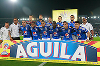 BOGOTA -COLOMBIA, 27-11-2016. Formación de Millonarios ante Nacional. Acción de juego entre Millonarios y Atlético Nacional  durante el  encuentro  por los cuartos de final ida de la Liga Aguila II 2016 disputado en el estadio Nemesio Camacho El Campín./ Team of Millonaros aagainst Nacional.Action game between Millonaros and Nacional   during match for the final quarters date  of the Aguila League II 2016 played at Nemesio Camacho El Campin stadium . Photo:VizzorImage / Felipe Caicedo  / Staff