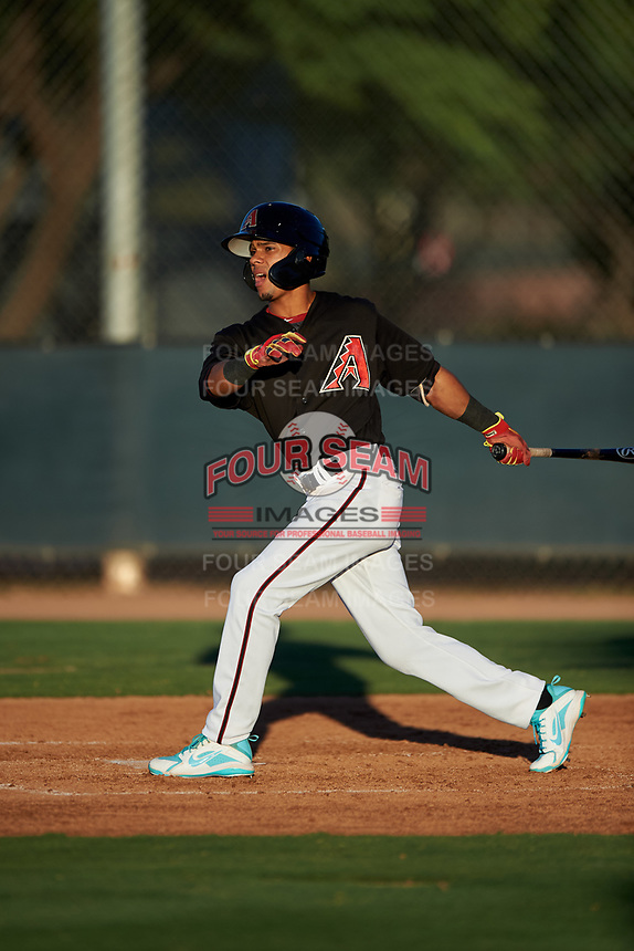 AZL D-backs Leodany Perez (4) at bat during an Arizona League game against the AZL Angels on July 20, 2019 at Salt River Fields at Talking Stick in Scottsdale, Arizona. The AZL Angels defeated the AZL D-backs 11-4. (Zachary Lucy/Four Seam Images)