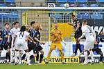 Rechts koepft Waldhofs Anton-Leander Donkor (Nr.19) den Ball vor dem Tor von Waldhofs Jan-Christoph Bartels (Nr.23) weg beim Spiel in der 3. Liga, SV Waldhof Mannheim - FC Ingolstadt.<br /> <br /> Foto © PIX-Sportfotos *** Foto ist honorarpflichtig! *** Auf Anfrage in hoeherer Qualitaet/Aufloesung. Belegexemplar erbeten. Veroeffentlichung ausschliesslich fuer journalistisch-publizistische Zwecke. For editorial use only. DFL regulations prohibit any use of photographs as image sequences and/or quasi-video.