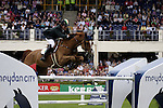 August 07, 2009: Ireland's Cameron Hanley in action aboard his horse Southwind Vdl. Meydan FEI Nations Cup. Failte Ireland Horse Show. The RDS, Dublin, Ireland.