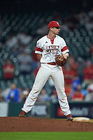 Louisiana Ragin' Cajuns relief pitcher Logan Stoelke (32) looks to his catcher for the sign against the Vanderbilt Commodores in game five of the 2018 Shriners Hospitals for Children College Classic at Minute Maid Park on March 3, 2018 in Houston, Texas.  The Ragin' Cajuns defeated the Commodores 3-0.  (Brian Westerholt/Four Seam Images)
