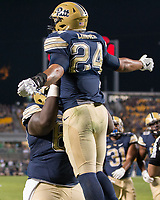 James Conner celebrates his 1-yard touchdown run.The Pitt Panthers defeated the Marshall Thundering Herd 43-27 on October 1, 2016 at Heinz Field in Pittsburgh, Pennsylvania.