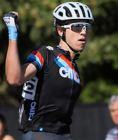 Connor Brown wins the Under-23 and Senior Men's road race, Carterton-Martinborough-Gladstone circuit. Day three of the 2018 NZ Age Group Road Cycling Championships in Carterton, New Zealand on Sunday, 22 April 2018. Photo: Dave Lintott / lintottphoto.co.nz