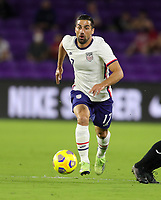 ORLANDO CITY, FL - JANUARY 31: Sebastian Lletget #17 of the United States turns and moves with the ball during a game between Trinidad and Tobago and USMNT at Exploria stadium on January 31, 2021 in Orlando City, Florida.