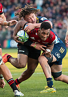Sione Havili is tackled during the 2020 Super Rugby match between the Crusaders and Highlanders at Orangetheory Stadium in Christchurch, New Zealand on Saturday, 9 August 2020. Photo: Joe Johnson / lintottphoto.co.nz