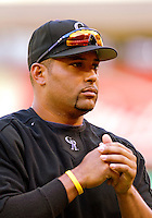 13 June 2006: Yorvit Torrealba, catcher for the Colorado Rockies, awaits his turn in the batting cage prior to a game against the Washington Nationals at RFK Stadium, in Washington, DC. The Rockies defeated the Nationals 9-2 in the second game of the four-game series...Mandatory Photo Credit: Ed Wolfstein Photo..
