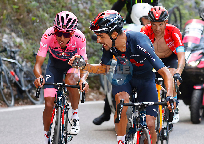 Jonathan Castroviejo Nicolas (ESP) encourages teammate<br /> race leader Maglia Rosa Egan Bernal (COL) Ineos Grenadiers to keep fighting on the final climb of Stage 17 of the 2021 Giro d'Italia, running 193km from Canazei to Sega Di Ala, Italy. 26th May 2021.  <br /> Picture: POOL Bettini/LaPresse | Cyclefile<br /> <br /> All photos usage must carry mandatory copyright credit (© Cyclefile | POOL Bettini/LaPresse)
