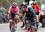 Jonathan Castroviejo Nicolas (ESP) encourages teammate<br /> race leader Maglia Rosa Egan Bernal (COL) Ineos Grenadiers to keep fighting on the final climb of Stage 17 of the 2021 Giro d'Italia, running 193km from Canazei to Sega Di Ala, Italy. 26th May 2021.  <br /> Picture: POOL Bettini/LaPresse   Cyclefile<br /> <br /> All photos usage must carry mandatory copyright credit (© Cyclefile   POOL Bettini/LaPresse)