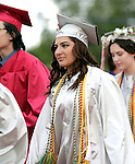 Wolcott, CT- 13 June 2016-061316CM11-  Wolcott High School graduate Susan Naseri begins commencement exercises on Monday.  Nisei was also the class student government president.    Christopher Massa Republican-American