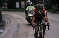 Tiesj Benoot (BEL/Lotto-Soudal) on his way to a solo victory in the 12th Strade Bianche 2018<br /> <br /> Siena > Siena: 184km (ITALY)