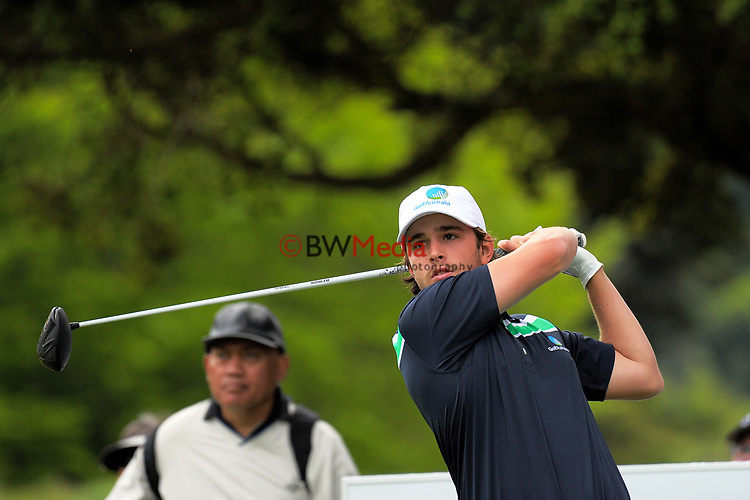 Harrison Endycott (Aus) tees off at the 12th on day one of the 2017 Asia-Pacific Amateur Championship day one at Royal Wellington Golf Club in Wellington, New Zealand on Thursday, 26 October 2017. Photo: Dave Lintott / lintottphoto.co.nz