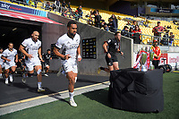 The men's teams run out for the 2021 Takiwhitu Tuturu Sevens tournament match between All Blacks Sevens Black and All Blacks Sevens White at Sky Stadium in Wellington, New Zealand on Sunday, 11 April 2021. Photo: Dave Lintott / lintottphoto.co.nz