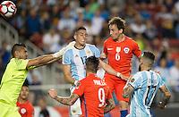 Action photo during the match Argentina vs Chile, Corresponding Group -D- America Cup Centenary 2016, at Levis Stadium<br /> <br /> Foto de accion durante el partido Argentina vs Chile, Correspondiante al Grupo -D-  de la Copa America Centenario USA 2016 en el Estadio Levis, en la foto: (i-d) Ramiro Funes Mori de Argentina y Jose Pedro Fuenzalida anota el gol de Chile<br /> <br /> <br /> 06/06/2016/MEXSPORT/David Leah.
