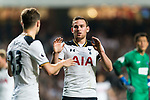 Tottenham Hotspur Forward Vincent Janssen (R) celebrating his goal with his teammates Tottenham Hotspur Defender Ben Davies (L) during the Friendly match between Kitchee SC and Tottenham Hotspur FC at Hong Kong Stadium on May 26, 2017 in So Kon Po, Hong Kong. Photo by Man yuen Li  / Power Sport Images