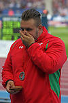 Glasgow 2014 Commonwealth Games<br /> An emotional Aled Davies (Wales) with his silver medal won in the Men's Para-Sport Discus Throw.<br /> Hampden Park<br /> 28.07.14<br /> ©Steve Pope-SPORTINGWALES