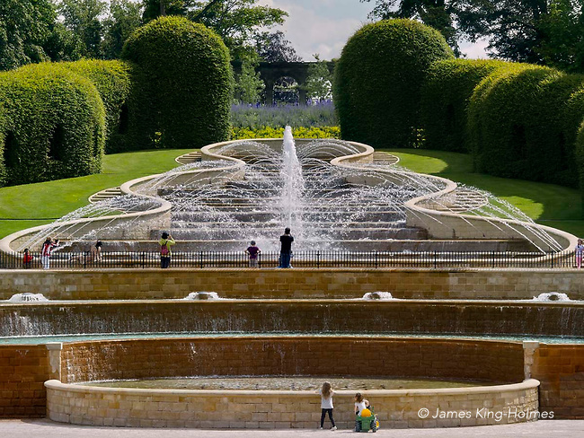 The Grand Cascade, a water feature at the Alwick Gardens in Northumberland. The gardens were originally laid out in 1750 by the then Duke of Northumberland but were redeveloped in 1997 by the present Duchess of Northumberland. The water cascade is a central feature.