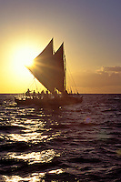 Hawaii loa, an authentic Hawaiian sailing canoe, a sister to the Hokulea, at sunset