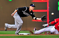 22 April 2010: Colorado Rockies' second baseman Clint Barmes in action against the Washington Nationals at Nationals Park in Washington, DC. The Rockies shut out the Nationals 2-0 gaining a 2-2 series split. Mandatory Credit: Ed Wolfstein Photo