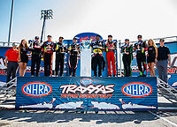 Sep 2, 2017; Clermont, IN, USA; NHRA top fuel drivers (from left) Terry McMillen, Doug Kalitta, Tony Schumacher, Steve Torrence, Antron Brown, Leah Pritchett, Brittany Force and Clay Millican during driver introductions for the Traxxas Shootout during qualifying for the US Nationals at Lucas Oil Raceway. Mandatory Credit: Mark J. Rebilas-USA TODAY Sports