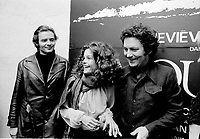 Actors Richard Jordan (L), Genevieve Bujold (M) and filmmaker Claude Jutras (R) pose for photographer at the Montreal Premiere of KAMOURASKA in  March , 1973 (exact date unknown)<br /> <br /> Photo : Agence Quebec Presse  -  Alain Renaud
