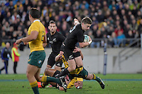 All Blacks' Beauden Barrett in action during the All Blacks v Wallabies. The Rugby Championship & Bledisloe Cup at Westpac Stadium, Wellington, New Zealand on Saturday 27 August 2016.<br /> Photo by Masanori Udagawa. <br /> www.photowellington.photoshelter.com.