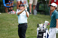 3rd July 2021, Detroit, MI, USA;   Tom Lewis hits his second shot on the first hole on July 3, 2021 during the Rocket Mortgage Classic at the Detroit Golf Club in Detroit, Michigan.