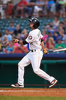 Tri-City ValleyCats shortstop Keach Ballard (32) at bat during a game against the Brooklyn Cyclones on September 1, 2015 at Joseph L. Bruno Stadium in Troy, New York.  Tri-City defeated Brooklyn 5-4.  (Mike Janes/Four Seam Images)