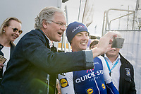 vice prime minister Kris Peeters taking a selfie with race winner Yves Lampaert (BEL/QuickStep Floors) backstage<br /> <br /> 72nd Dwars Door Vlaanderen (1.UWT)<br /> 1day race: Roeselare › Waregem BEL (203.4km)