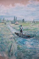 Europe/France/Poitou-Charentes/79/Deux-Sèvres/Marais Poitevin/Saint-Hilaire-la-Palud : Mur peint représentant une plate , barque sur le marais