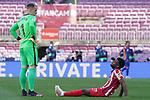 Atletico de Madrid's Thomas Lemar injured in presence of FC Barcelona's Marc-Andre Ter Stegen during La Liga match. May 8, 2021. (ALTERPHOTOS/Acero)
