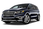 Stock pictures of low aggressive front three quarter view of a 2015 KIA Sedona LX Hybrid 5 Door Mini Van