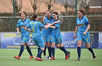20180414 - DIKSMUIDE , BELGIUM : Diksmuide Merkem's players celebrating their equalizer pictured during a soccer match between the women teams of Famkes Westhoek Diksmuide Merkem and KFC Kontch  , during the 22th matchday in the 2017-2018  Eerste klasse - First Division season, Saturday 14 April 2018 . PHOTO SPORTPIX.BE | DIRK VUYLSTEKE