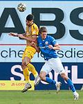 20.02.2021, xtgx, Fussball 3. Liga, FC Hansa Rostock - SV Waldhof Mannheim, v.l. Gerrit Gohlke (Mannheim, 27), Lion Lauberbach (Rostock) Zweikampf, Duell, Kampf, tackle <br /> <br /> (DFL/DFB REGULATIONS PROHIBIT ANY USE OF PHOTOGRAPHS as IMAGE SEQUENCES and/or QUASI-VIDEO)<br /> <br /> Foto © PIX-Sportfotos *** Foto ist honorarpflichtig! *** Auf Anfrage in hoeherer Qualitaet/Aufloesung. Belegexemplar erbeten. Veroeffentlichung ausschliesslich fuer journalistisch-publizistische Zwecke. For editorial use only.