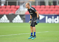 WASHINGTON, DC - JULY 7: Jon Kempin #21 of D.C. United warming up during a game between Liga Deportiva Alajuense  and D.C. United at Audi Field on July 7, 2021 in Washington, DC.