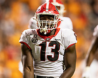 KNOXVILLE, TN - OCTOBER 5: Azeez Ojulari #13 of the Georgia Bulldogs celebrates after a sack during a game between University of Georgia Bulldogs and University of Tennessee Volunteers at Neyland Stadium on October 5, 2019 in Knoxville, Tennessee.
