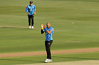 Tymal Mills of Sussex celebrates taking the wicket of Will Buttleman during Essex Eagles vs Sussex Sharks, Vitality Blast T20 Cricket at The Cloudfm County Ground on 15th June 2021