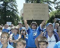 An estimated 1,500 San Jose Earthquakes fan gathered at the Soccer Silicon Valley Rally held in downtown San Jose, CA on August 20, 2004 to show support for the club.  The non-profit Soccer Silicon Valley group hope to find a local buyer or soccer specific stadium for the Earthquakes within the next month so the team is not sold by its current investor/operator Anschutz Entertainment Group to Mexican League Club America and relocated to Houston, TX.