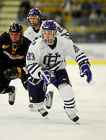 29 December 2007: Holy Cross Crusaders' defenseman Marty Dams, a Junior from Manotick, Ontario, in action against the University of Vermont Catamounts at Gutterson Fieldhouse in Burlington, Vermont. The Catamounts rallied in the final seconds of play to tie the game 1-1. After overtime, although the official result remained a tie game, the Cats moved up to the championship round by winning a sudden death shootout in the second game of the Sheraton/TD Banknorth Catamount Cup Tournament...Mandatory Photo Credit: Ed Wolfstein Photo