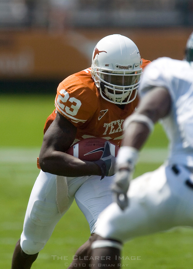 02 September 2006: University of Texas receiver Myron Hardy cuts down field during the Longhorns 56-7 victory over the University of North Texas at Darrell K Royal Memorial Stadium in Austin, TX.